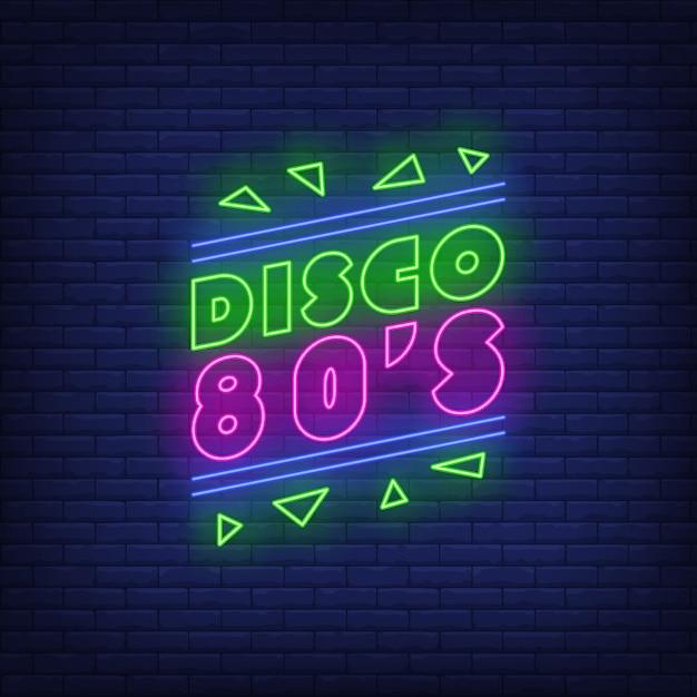 Disco, jaren 80 neon belettering Gratis Vector