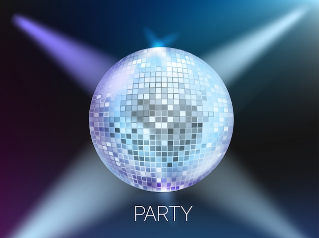 Disco party banner lay-out, kaartsjabloon met copyspace Premium Vector