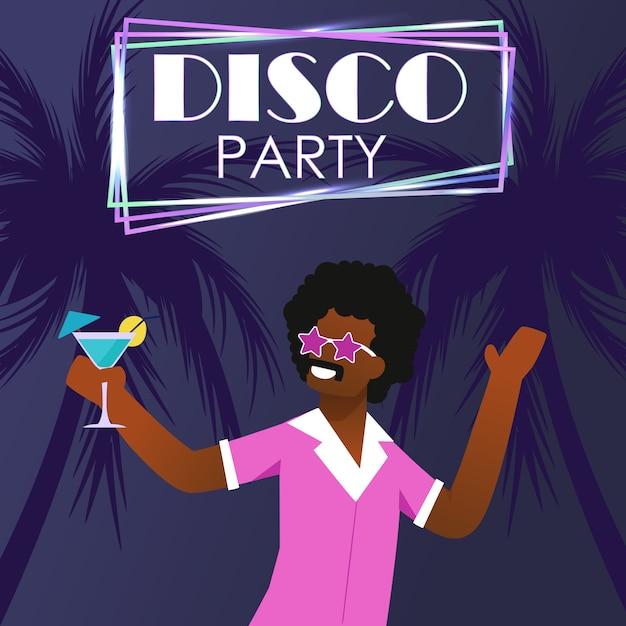 Disco party op tropisch strand uitnodiging poster Premium Vector