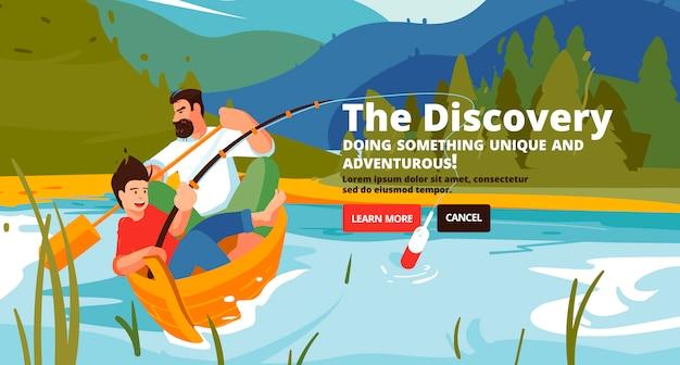Discovery banner. familie trekking, raften en vissen. Premium Vector