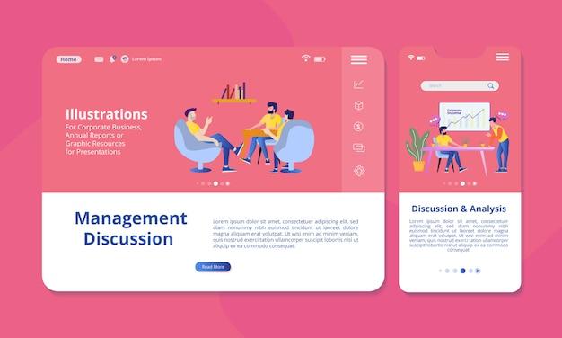 Discussie en analyse illustratie op het scherm voor web- of mobiele weergave. Premium Vector