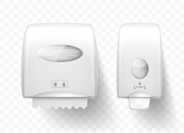 Dispensers vloeibare zeep en papieren handdoeken, realistisch Gratis Vector