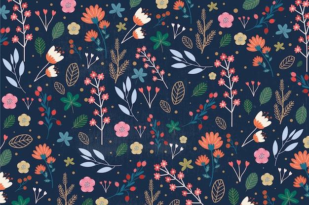 Ditsy bloemenprint achtergrond Gratis Vector