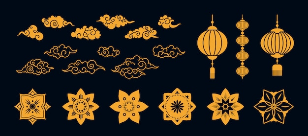 Diverse aziatische gouden traditionele platte elementen instellen Gratis Vector