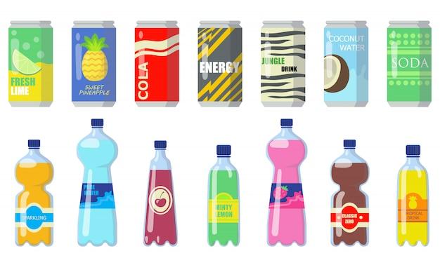 Diverse dranken in metalen blikjes en plastic flessen Gratis Vector