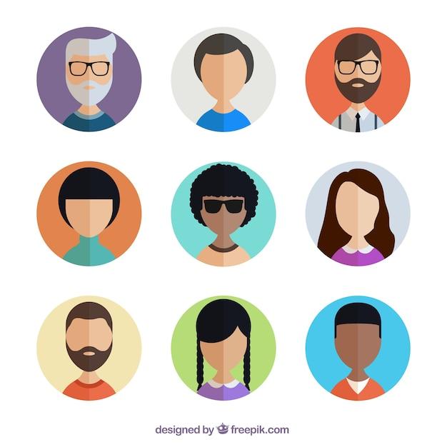 Diverse gebruiker avatars collectie Gratis Vector