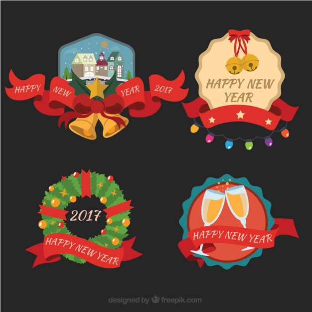 Diverse Gelukkig Nieuwjaar Stickers Met Elegante Rode Linten Vector