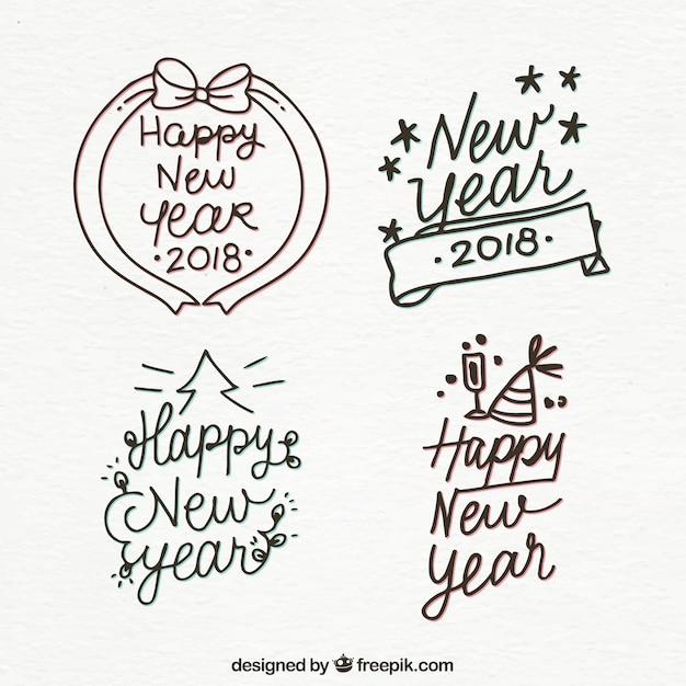 Diverse Handgetekende Stickers Van Gelukkig Nieuwjaar Vector