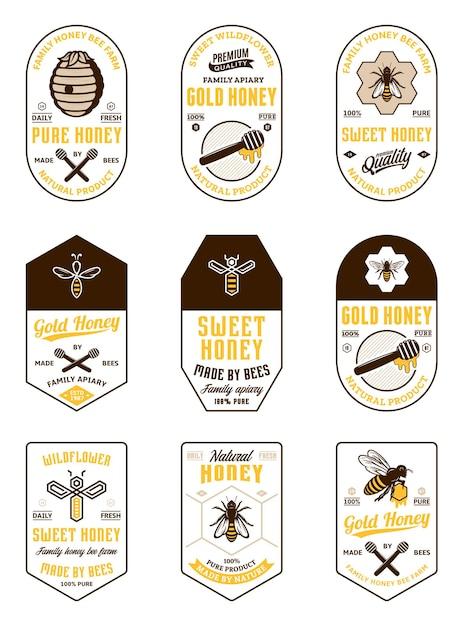 Diverse honing vintage labels en ontwerpelementen Premium Vector