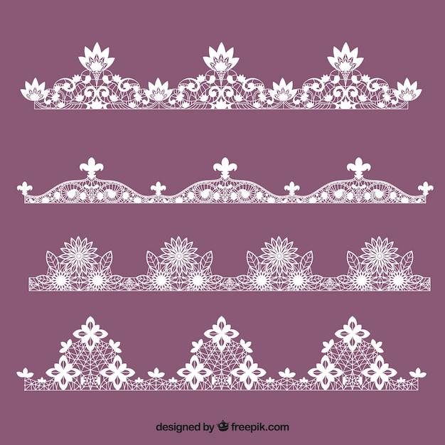 Diverse kant ornamenten Gratis Vector