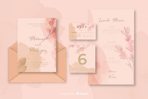 Diverse kantoorbehoeften voor huwelijksuitnodigingen roze schaduwen Gratis Vector