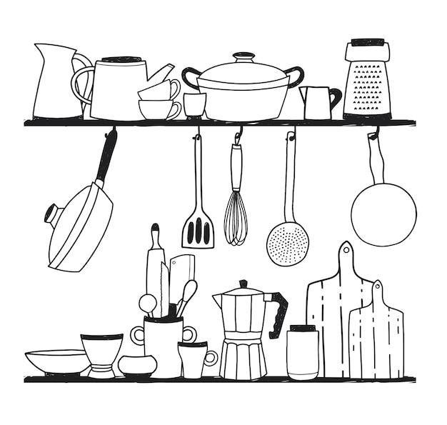 Diverse keukengerei om te koken, gereedschap voor het bereiden van voedsel of kookgerei dat op planken staat en aan haken hangt. vector illustratie hand getekend in zwart-wit kleuren. Premium Vector
