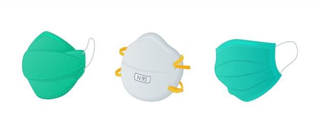 Diverse maskerset sets met n95 chirurgisch en regulier masker met moderne vlakke stijl Premium Vector