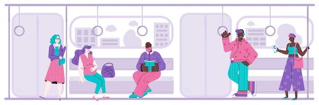 Diverse mensen stripfiguren in metro vlakke afbeelding. Premium Vector