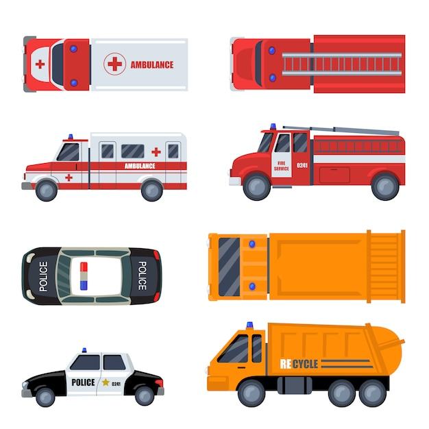 Diverse noodvoertuigen platte pictogramserie Gratis Vector