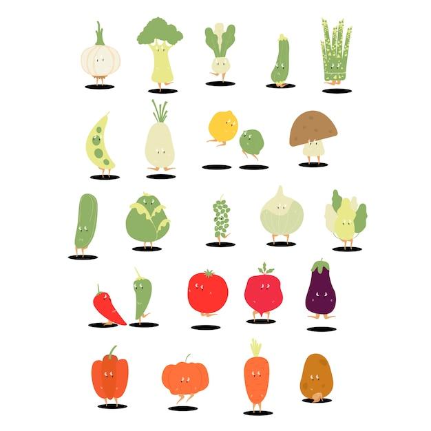 Diverse organische plantaardige stripfiguren instellen Gratis Vector