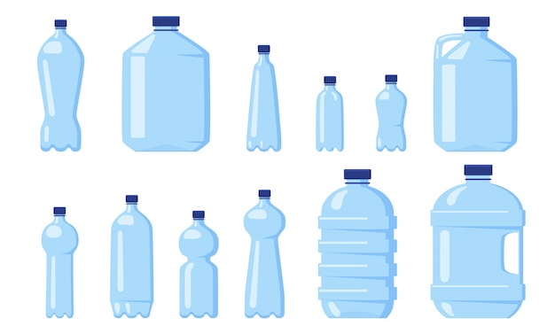 Diverse plastic flessen water Gratis Vector