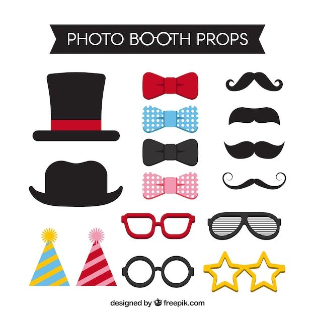 Diverse toebehoren voor foto booth Gratis Vector
