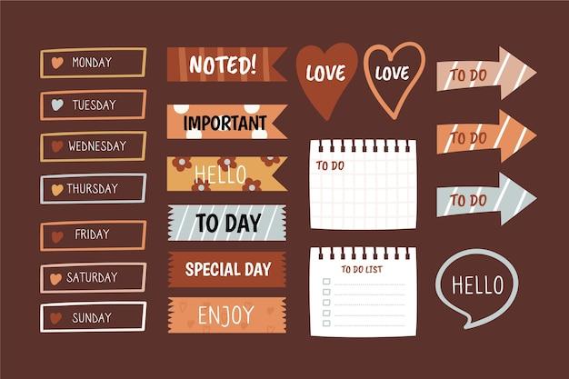 Diverse vormen van planner plakboek set Premium Vector