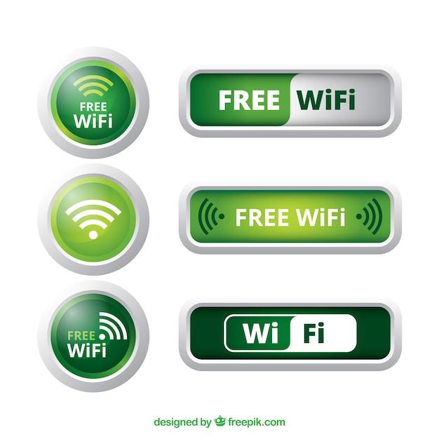 Diverse wifi knoppen in groene tinten Gratis Vector