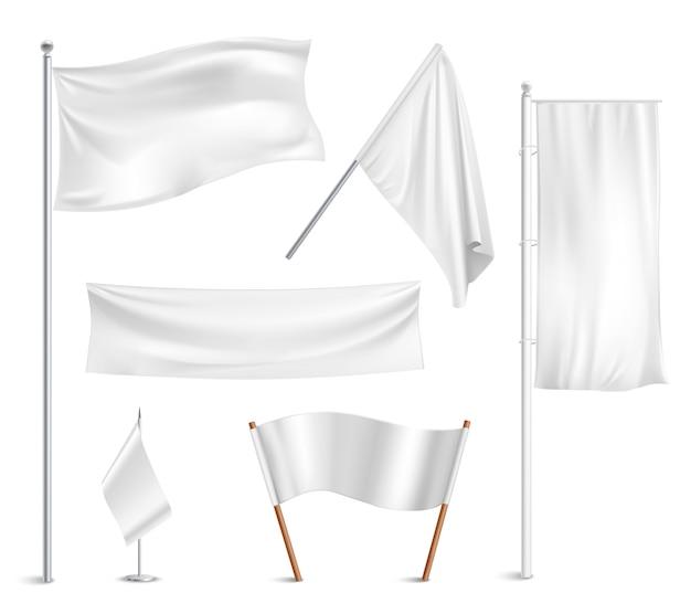 Diverse witte vlaggen en bannerspictogrammeninzameling Gratis Vector