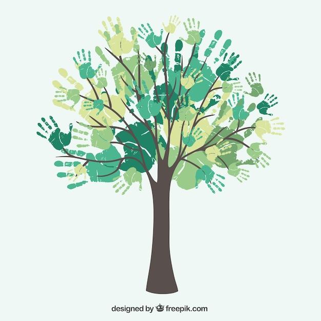 Diversiteit boom handen Gratis Vector