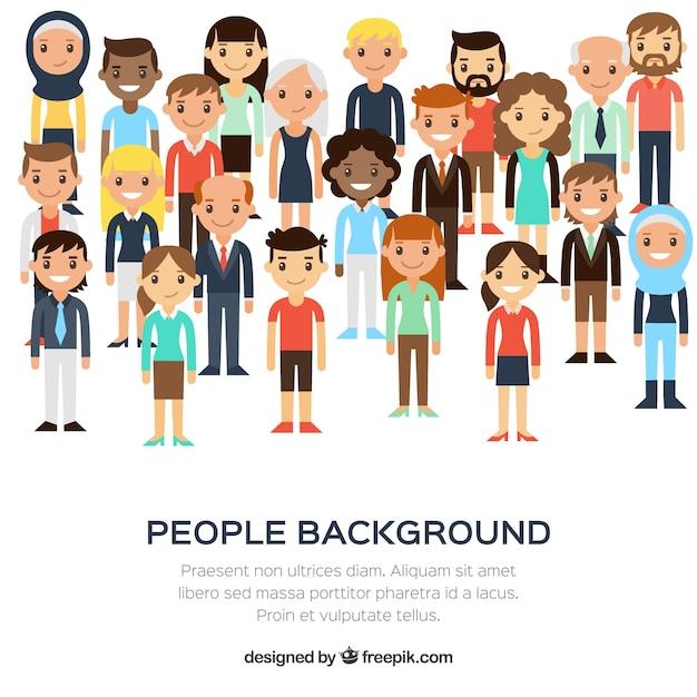 Diversiteit van mensen achtergrond in plat ontwerp Gratis Vector