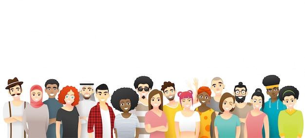 Diversiteitsconcept, groep gelukkige multi-etnische mensen die zich verenigen Premium Vector