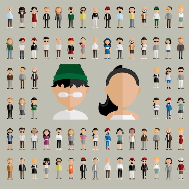 Diversiteitsgemeenschap mensen vlak ontwerppictogrammenconcept Gratis Vector