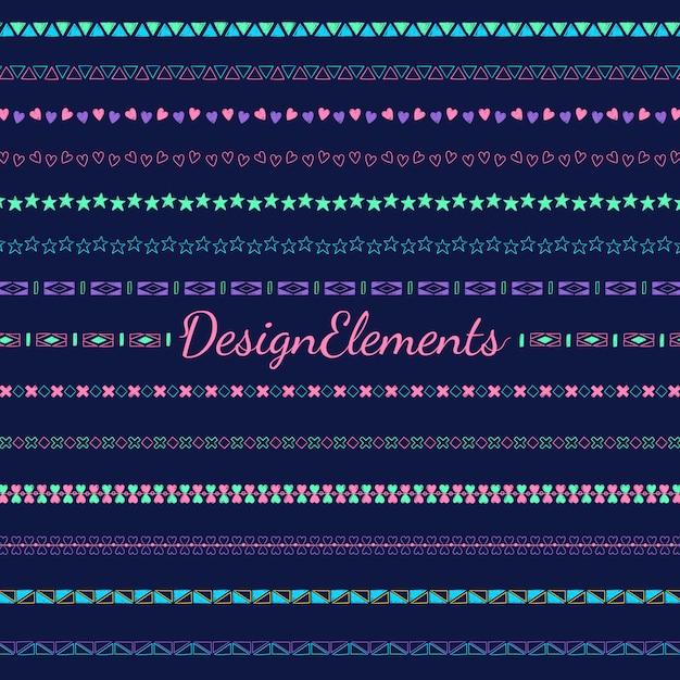 Divider lijn ontwerpelementen vector collectie Gratis Vector