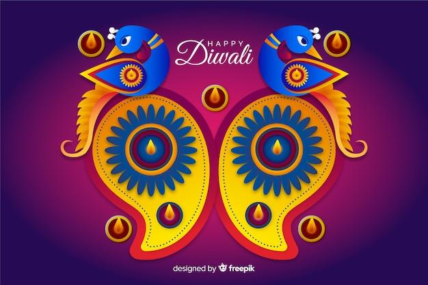 Diwali-achtergrond in document stijl Gratis Vector