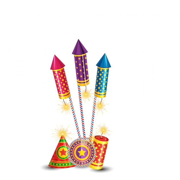 Diwali brandende crackers achtergrond Premium Vector