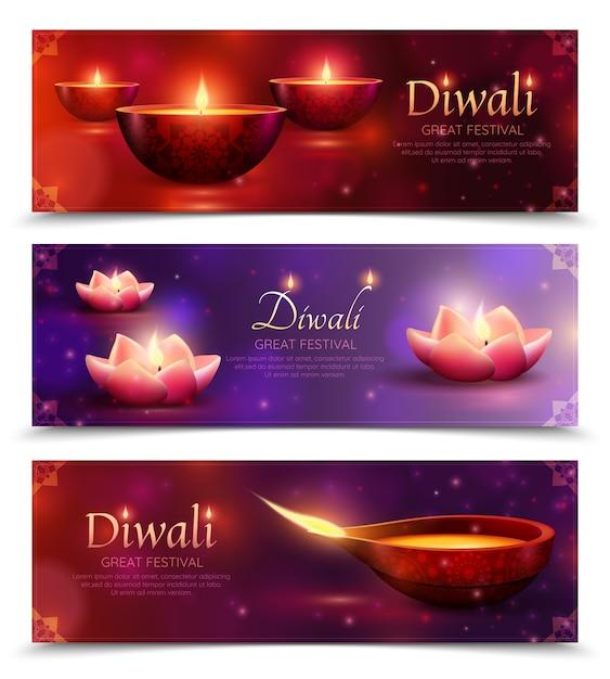 Diwali celebration horizontale banners Gratis Vector