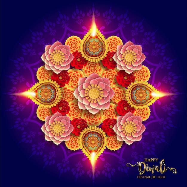 Diwali, deepavali of dipavali het festival van lichten india met gouden gevormde diya en kristallen op papier Premium Vector