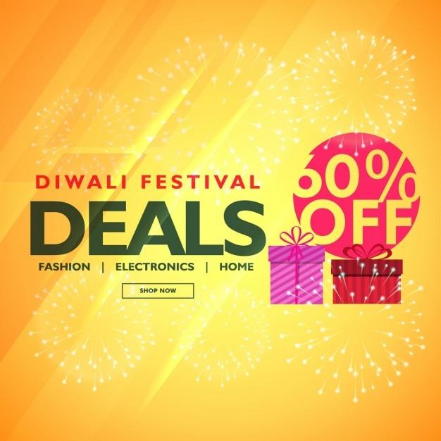 Diwali festival deals en aanbiedingen met geschenkdoos Gratis Vector