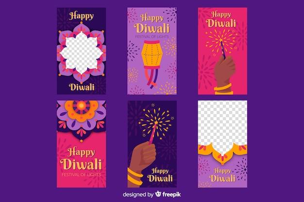 Diwali festival instagram-verhalen Gratis Vector
