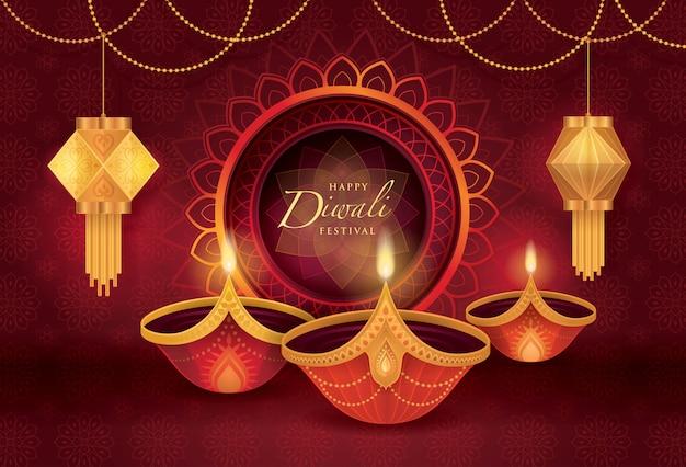 Diwali-festival met diwali-olielamp Premium Vector