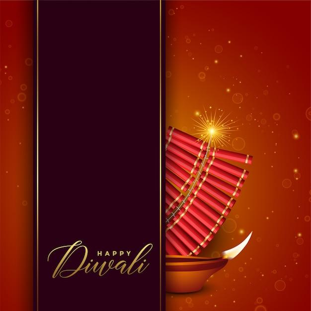 Diwali-festivalontwerp met cracker en diya Gratis Vector