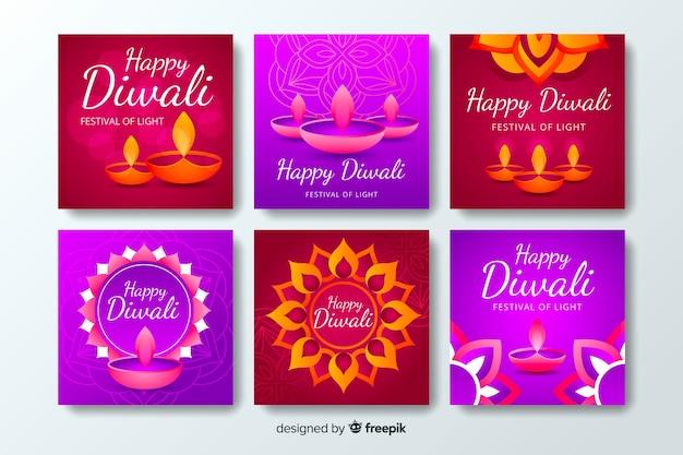 Diwali instagram in violette tinten na verzameling Gratis Vector