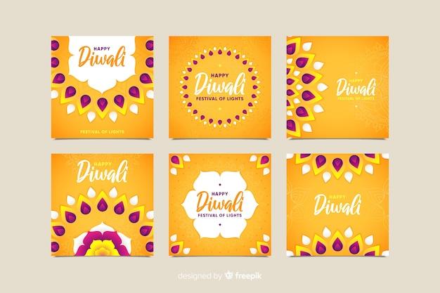Diwali instagram postverzameling in oranje tinten Gratis Vector