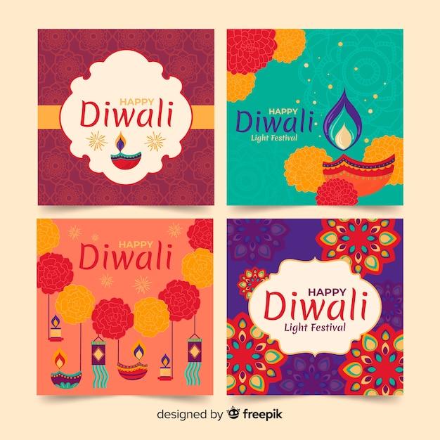 Diwali instagram postverzameling Gratis Vector
