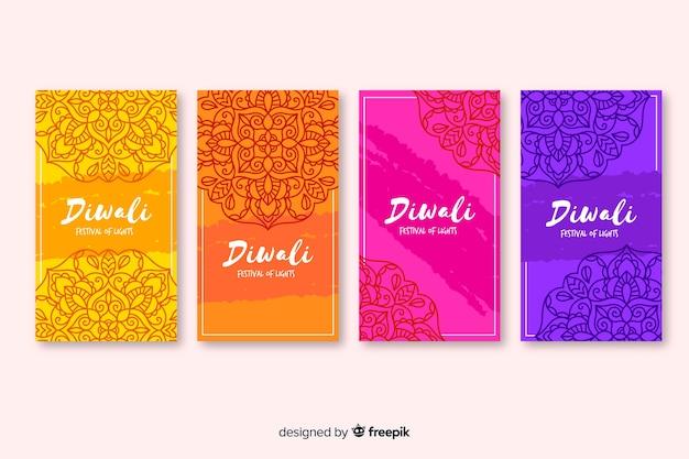 Diwali instagram verhalen en traditionele achtergrond Gratis Vector