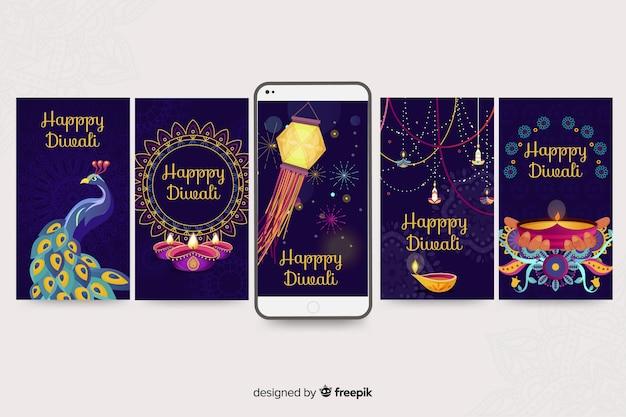 Diwali instagram verhalencollectie Gratis Vector