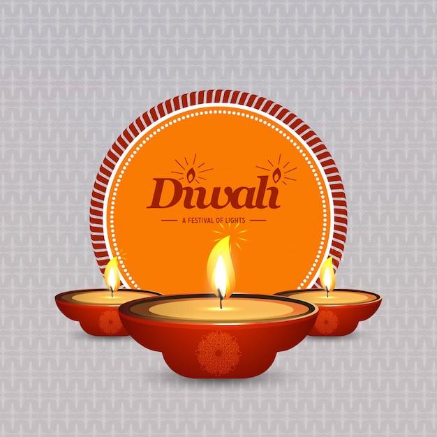 Diwali-ontwerp lichte achtergrond en typografievector Gratis Vector