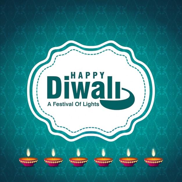 Diwali ontwerpt blauwe achtergrond en typografievector Gratis Vector