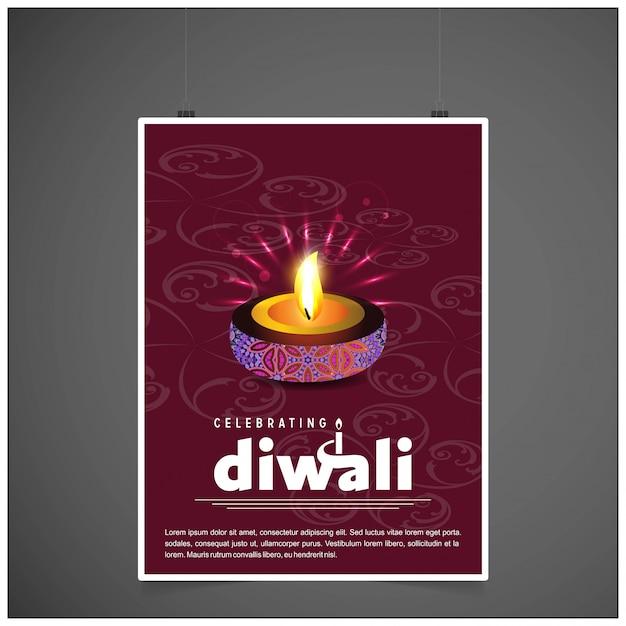 Diwali ontwerpt donkere achtergrond en typografievector Gratis Vector