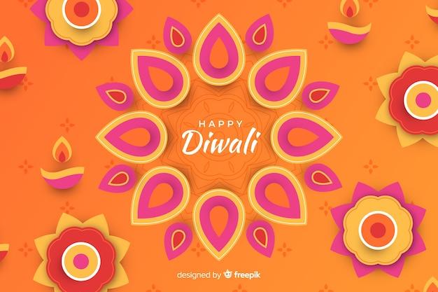Diwali-vakantie siert document stijlachtergrond Gratis Vector