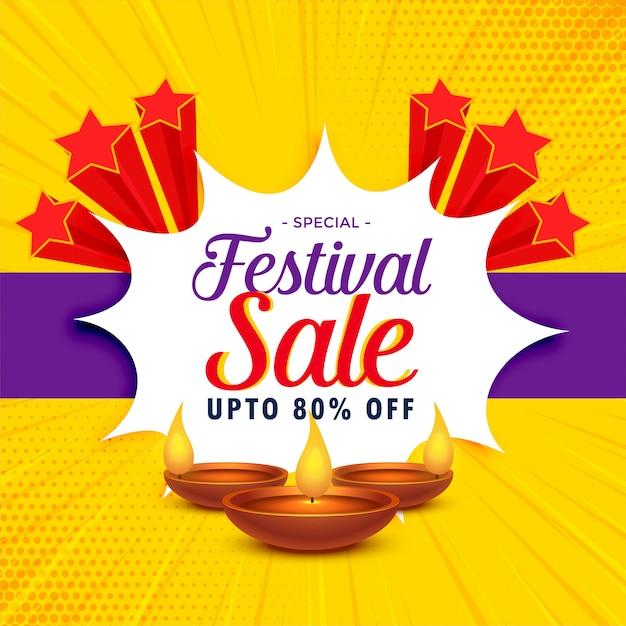 Diwali verkoop banner of poster ontwerp voor festival seizoen Gratis Vector