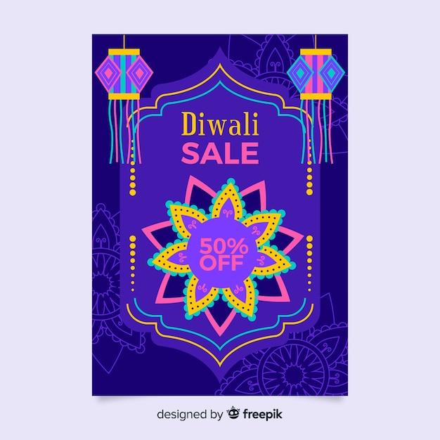 Diwali verkoop folder sjabloon in plat ontwerp Gratis Vector