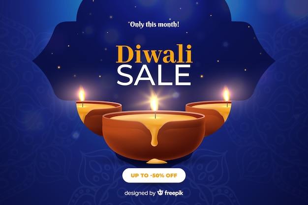 Diwali-verkoop in realistisch ontwerp Gratis Vector